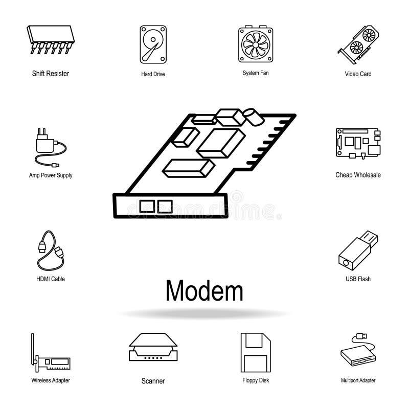intern modempictogram Gedetailleerde reeks pictogrammen van het computerdeel Premie grafisch ontwerp Één van de inzamelingspictog royalty-vrije illustratie