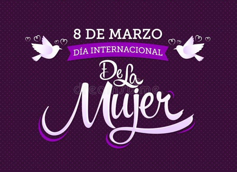 internacional de la Mujer, traduction espagnole de 8 de marzo Dia : Le jour des femmes internationales du 8 mars illustration stock