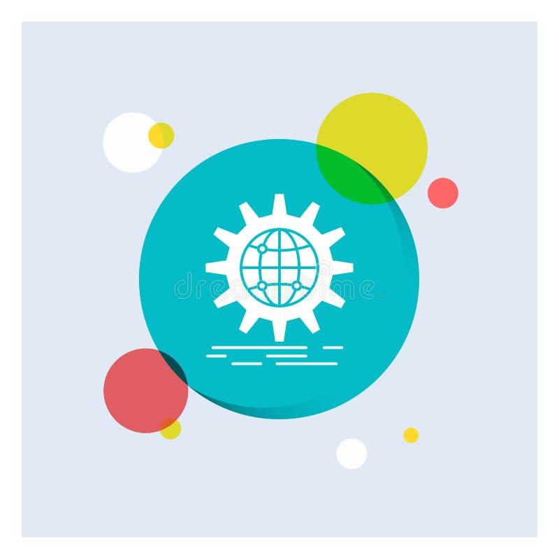 internacional, negocio, globo, mundial, fondo colorido del círculo del icono blanco del Glyph del engranaje libre illustration