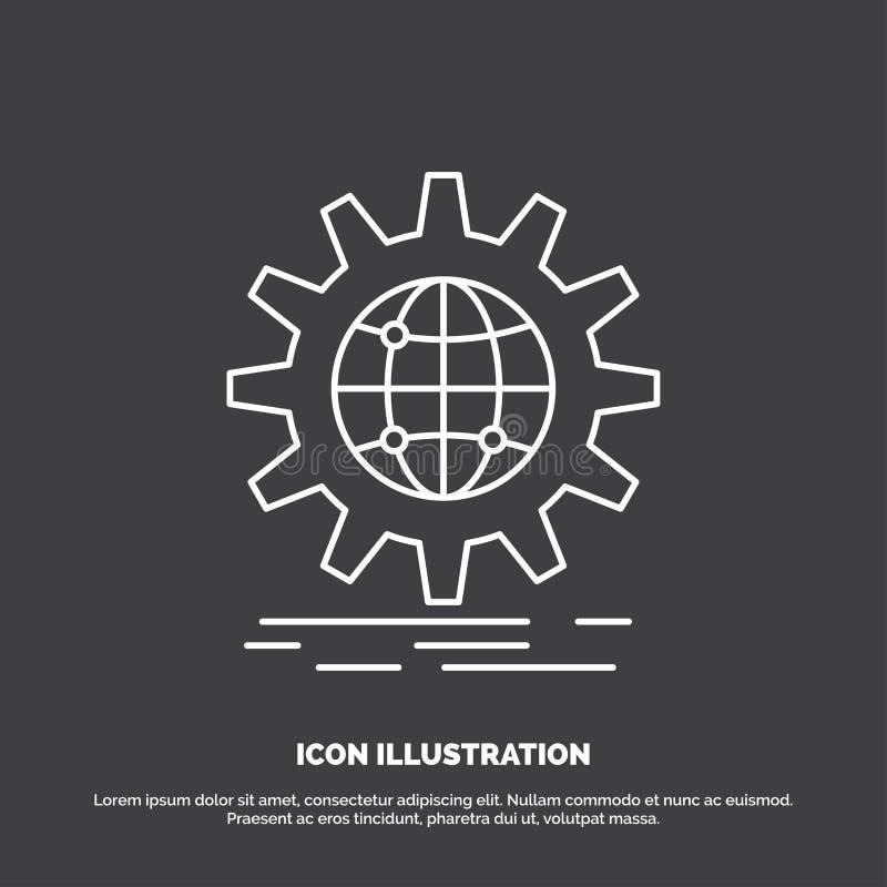 internacional, negocio, globo, mundial, icono del engranaje L?nea s?mbolo del vector para UI y UX, p?gina web o aplicaci?n m?vil stock de ilustración