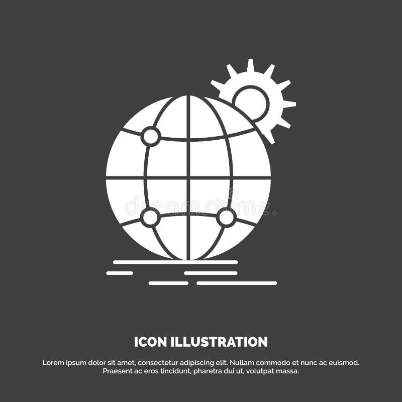 internacional, negocio, globo, mundial, icono del engranaje s?mbolo del vector del glyph para UI y UX, p?gina web o aplicaci?n m? ilustración del vector