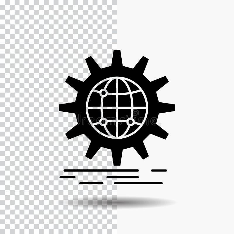 internacional, negocio, globo, mundial, icono del Glyph del engranaje en fondo transparente Icono negro stock de ilustración
