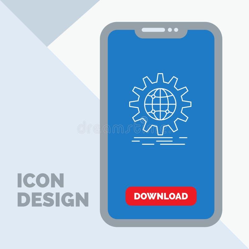internacional, negocio, globo, mundial, línea icono del engranaje en el móvil para la página de la transferencia directa stock de ilustración