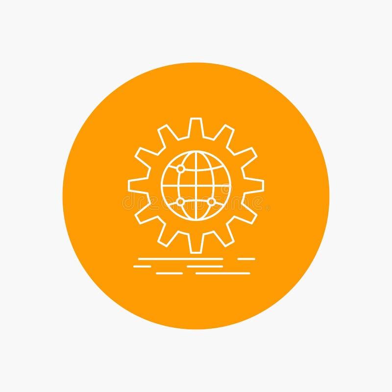 internacional, negocio, globo, mundial, l?nea blanca icono del engranaje en fondo del c?rculo Ejemplo del icono del vector ilustración del vector