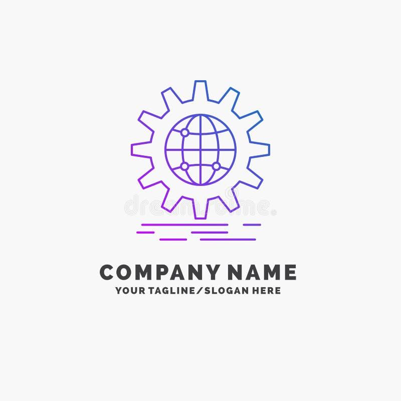 internacional, negocio, globo, mundial, negocio p?rpura Logo Template del engranaje Lugar para el Tagline ilustración del vector
