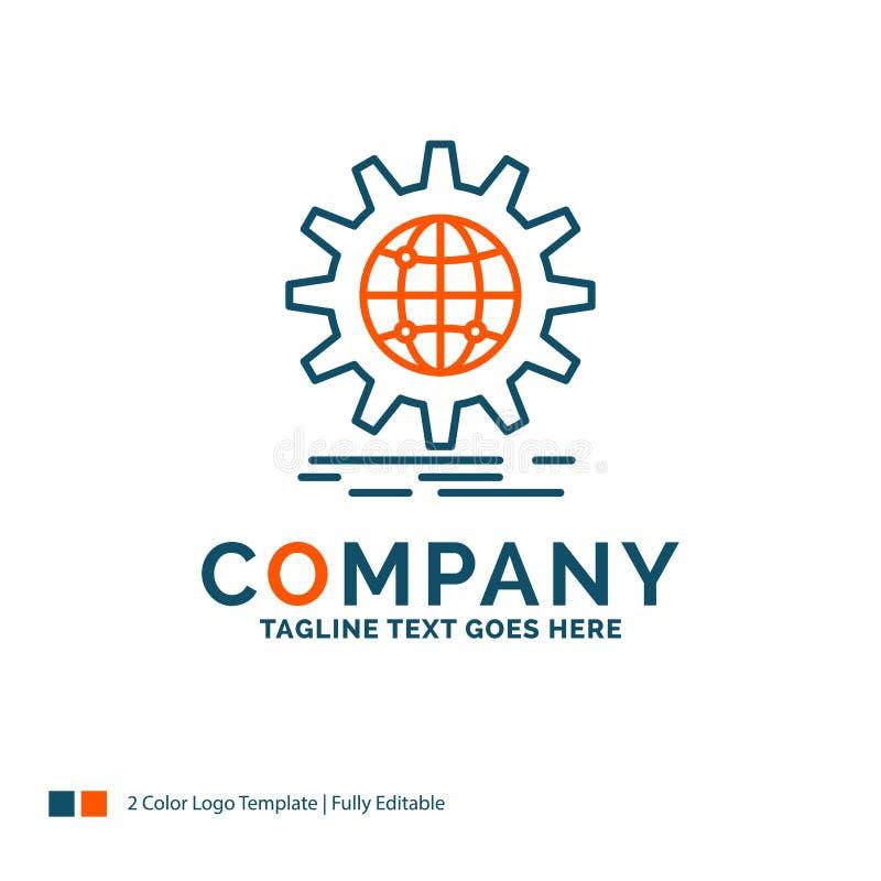 internacional, negocio, globo, por todo el mundo, engranaje Logo Design Bl libre illustration