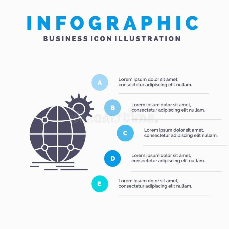 internacional, negocio, globo, por todo el mundo, plantilla de Infographics del engranaje para la p?gina web y presentaci?n Icono ilustración del vector