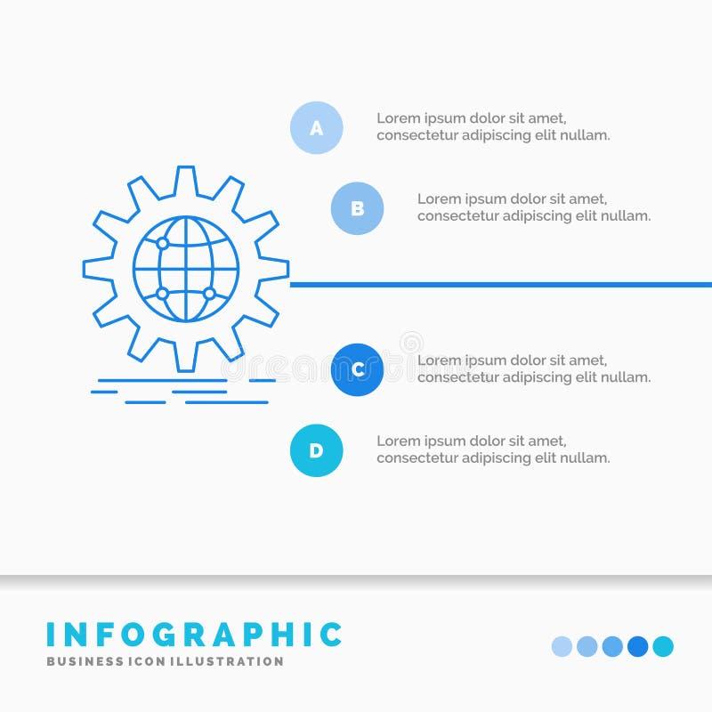 internacional, negocio, globo, por todo el mundo, plantilla de Infographics del engranaje para la p?gina web y presentaci?n L?nea ilustración del vector