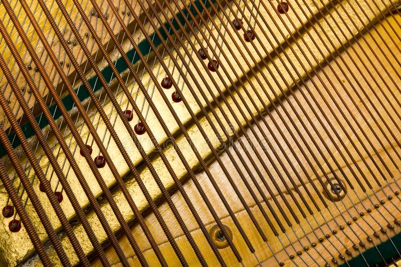 Internal arrangement of pianos, Theme of musical instruments. Background. stock photo