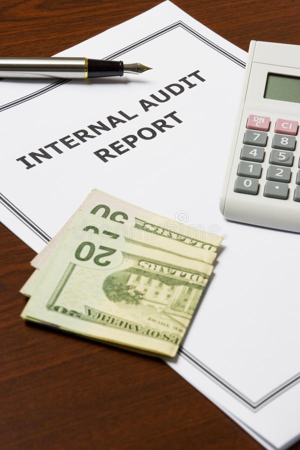 Internal Audit Report. Image of an internal audit report on an office table stock photos