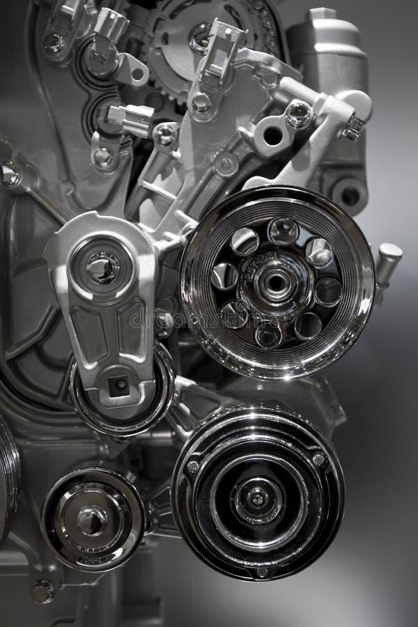 Internal combustion engine. Metallic shiny new internal combustion engine showing details royalty free stock image