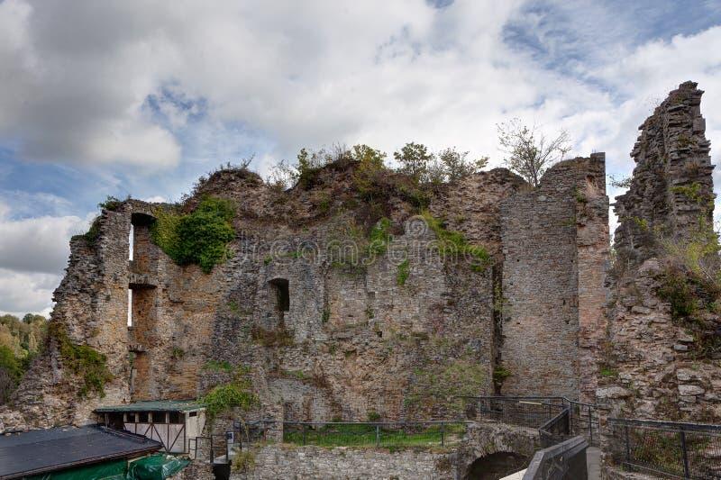 Internal courtyard Medieval castle Franchimont, Theux, Liege, Belgium stock photo