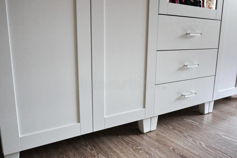 Internal details of the wardrobe. Large wardrobe. Details and close-up. stock image