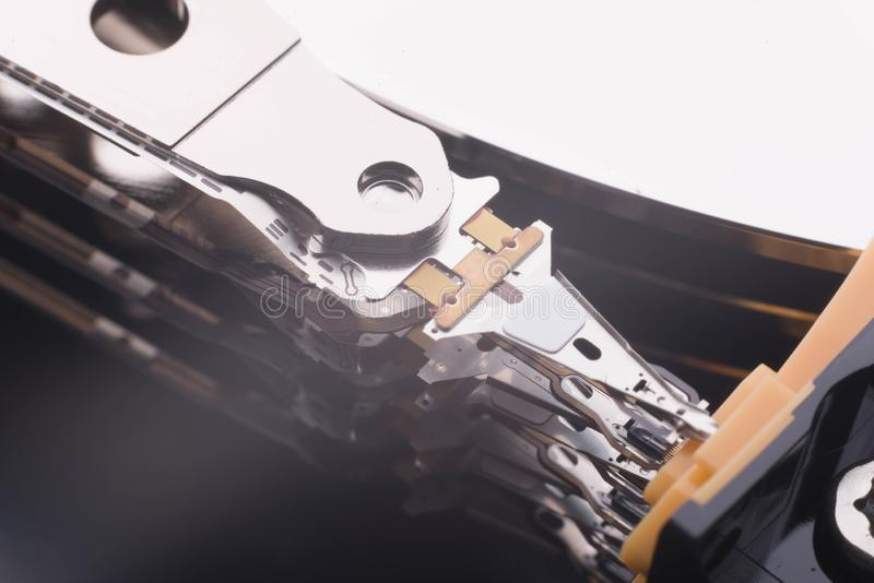 Internal element of the hard disk for reading information stock photography
