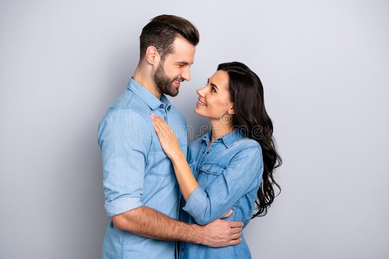 Internal love Profile side view photo of handsome boyfriend girlfriend ready for kiss hugs touching looking into eyes stock photos