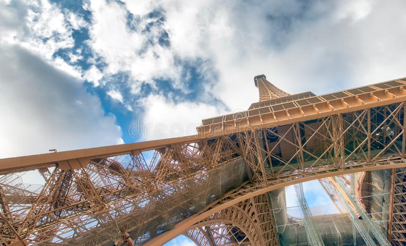Internal metallic structure of Eiffel Tower in Paris - France stock images