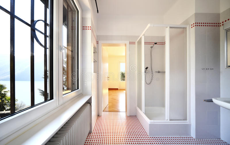 Internal nice bathroom. Refitted lovely apartment, internal nice bathroom stock photos