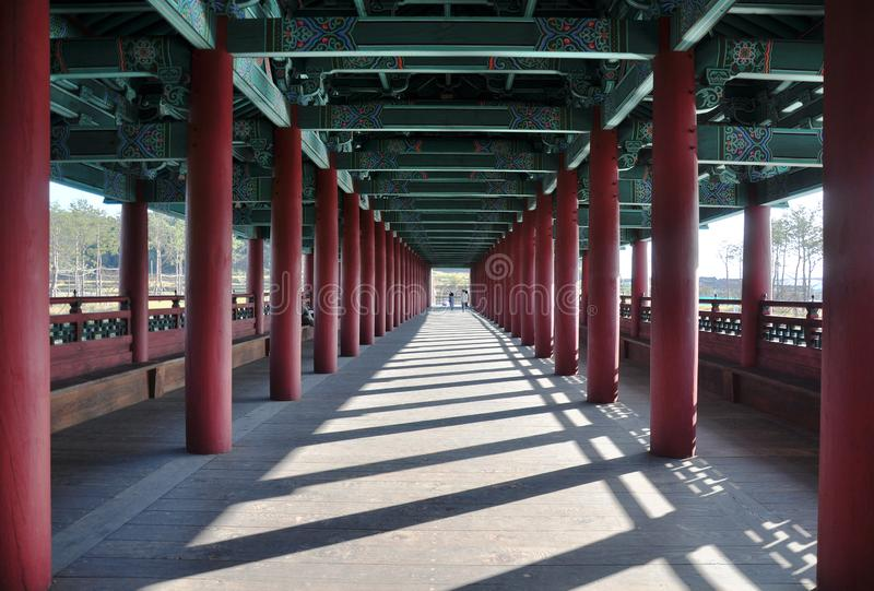 Internal passageway view of Woljeonggyo Bridge, Gyeongju, South Korea royalty free stock images