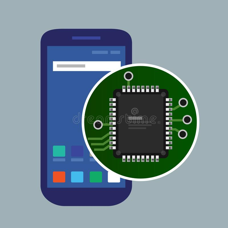 Internal phone device circuit board, a microprocessor, a variety of chips and other electronic components. illustrate. Repair of mobile devices. Vector vector illustration