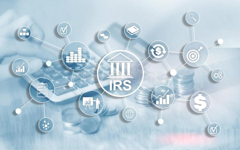 Internal Revenue Service. IRS Ministry of Finance. Abstract Business background.  stock images