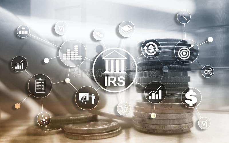 Internal Revenue Service. IRS Ministry of Finance. Abstract Business background. Internal Revenue Service. IRS Ministry of Finance. Abstract Business background stock images