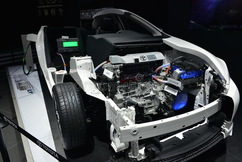 The internal structure of Toyota plug-in hybrid saloon car. Guangzhou, China - November 18, 2017: The internal structure of Toyota plug-in hybrid saloon car was stock images