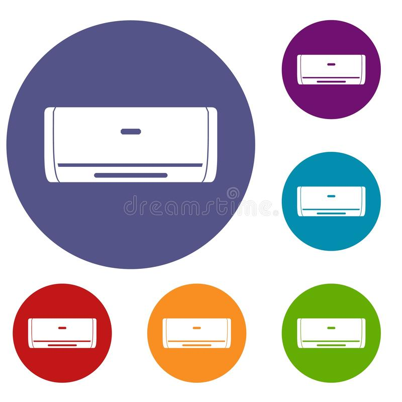 Internal unit air conditioner icons set royalty free illustration