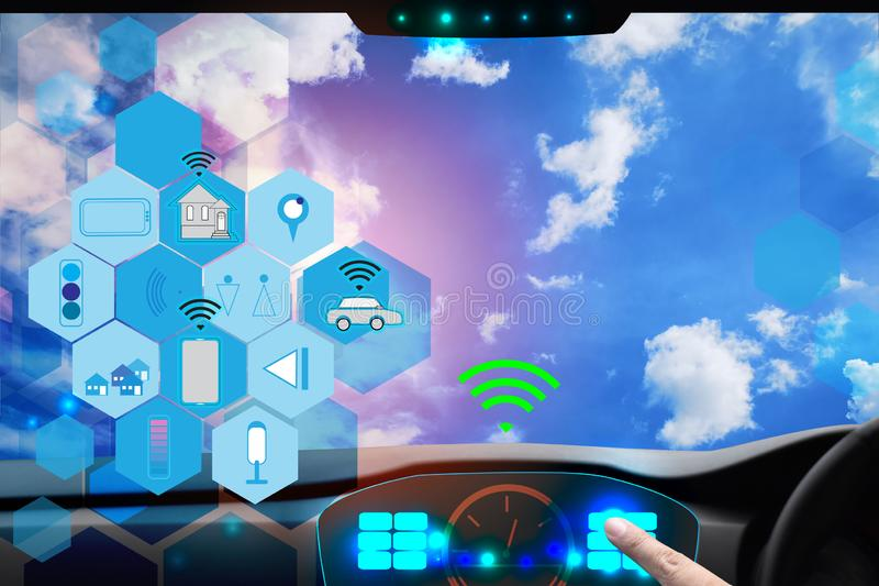Internal view and automatic self command driving with smartphone , Electric smart car technology. And empty space for text royalty free illustration