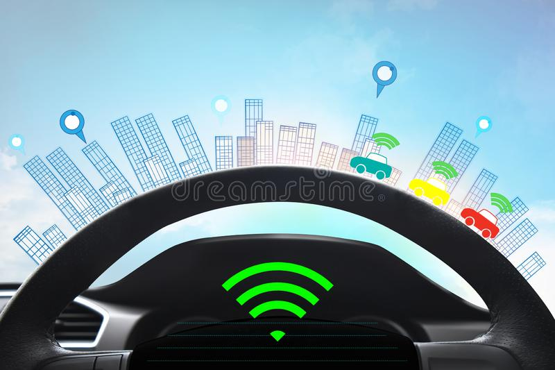 Internal view and automatic self command driving with smartphone , Electric smart car technology. And empty space for text stock illustration