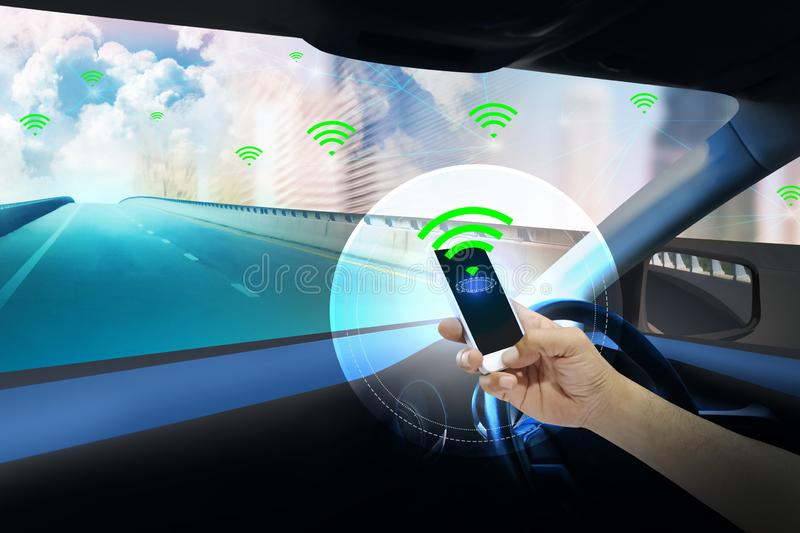 Internal view and automatic self command driving with smartphone ,Electric smart car technology. Internal view and automatic self command driving with stock illustration