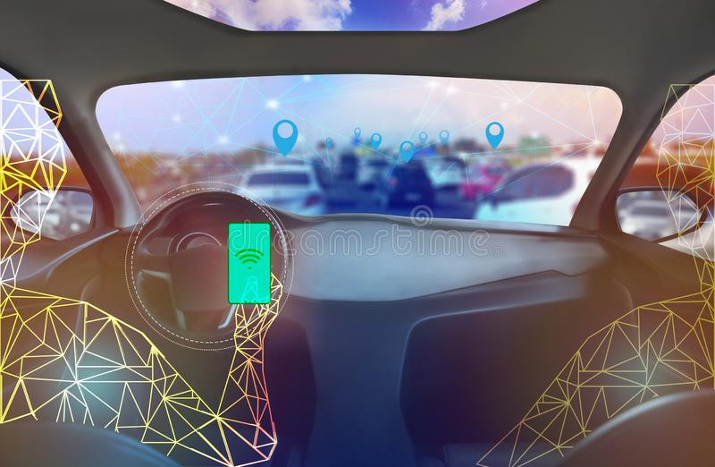 Internal view, Display screen and automatic self driving .Electric smart car technology. Internal view, Display screen and automatic self driving.Electric smart vector illustration