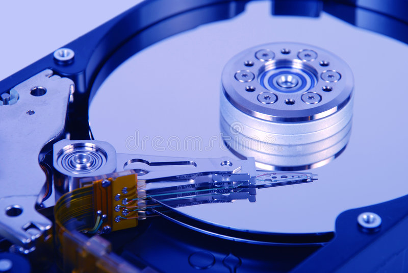 Internal view of hard disk stock images
