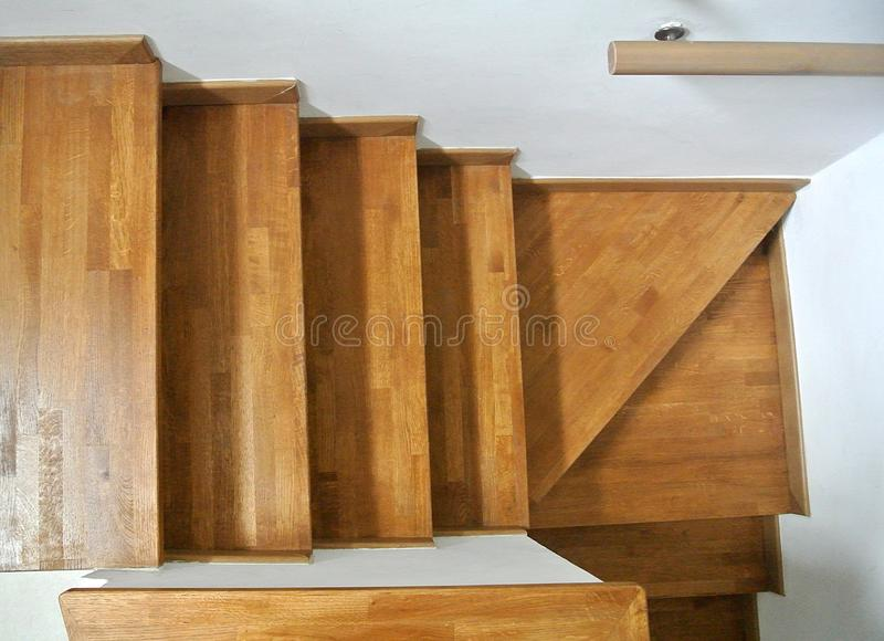 Internal wooden staircase royalty free stock photography