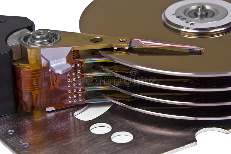 Internals of a hard disk drive stock image