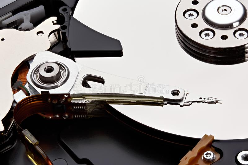 Internals of a hard disk drive - HDD. Stacked photo. stock images