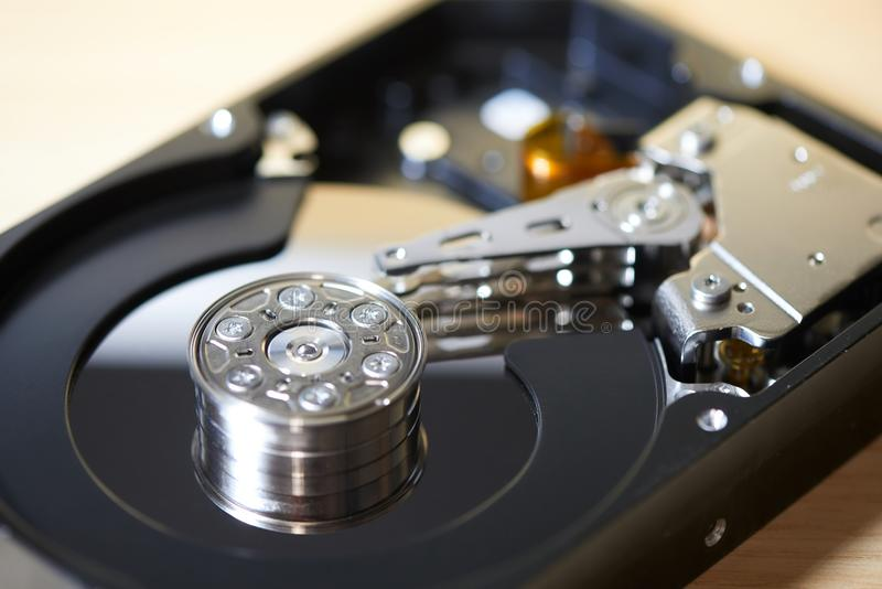 Internals of SATA hard disk drive stock photography