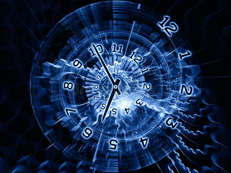 Internals of time. Arrangement of clock hands, gears, lights and numbers on the subject of time sensitive issues, deadlines, scheduling, temporal computational stock illustration