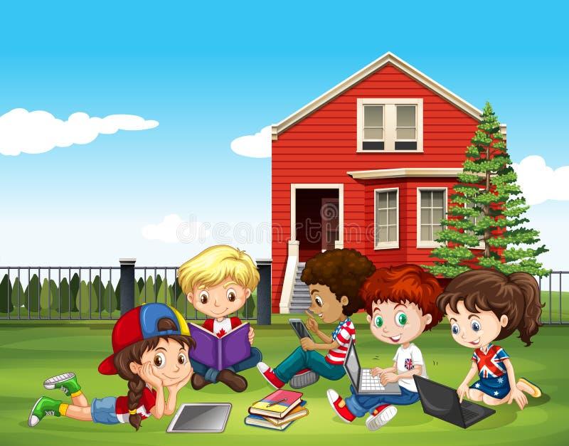 Internatinal children studying outside classroom stock illustration