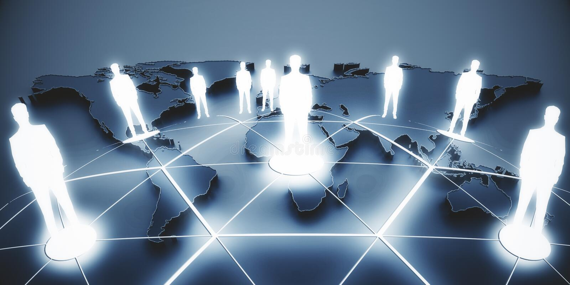 Internationaal bedrijfs en vennootschapconcept stock afbeelding
