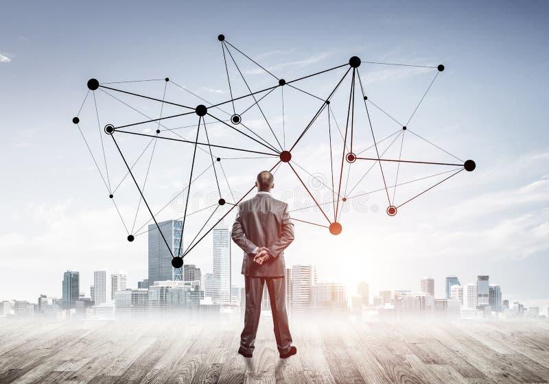 Internationaal bedrijfsvoorzien van een netwerk en sociale verbinding tegen stock afbeelding