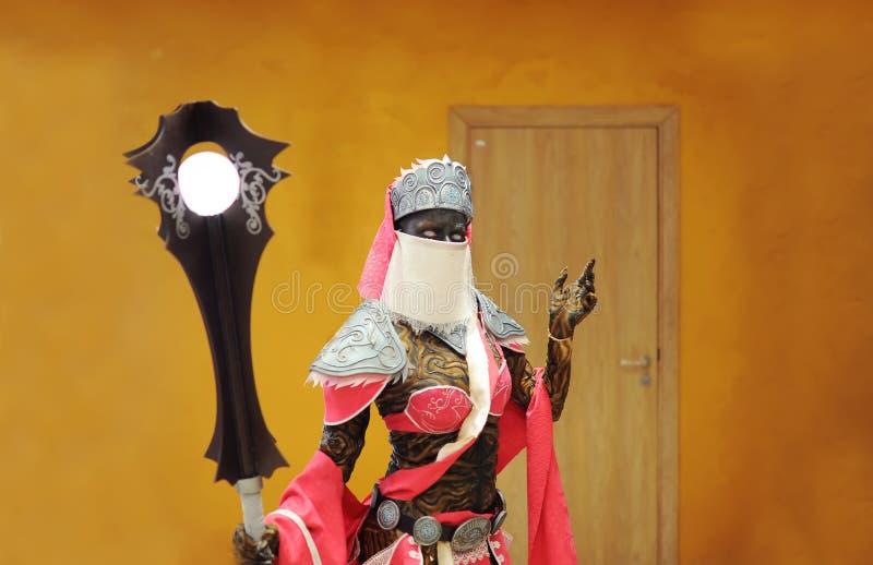 Internationaal festival van cosplay Cosplayer - zwarte koningin in een beeld van het demon royalty-vrije stock foto