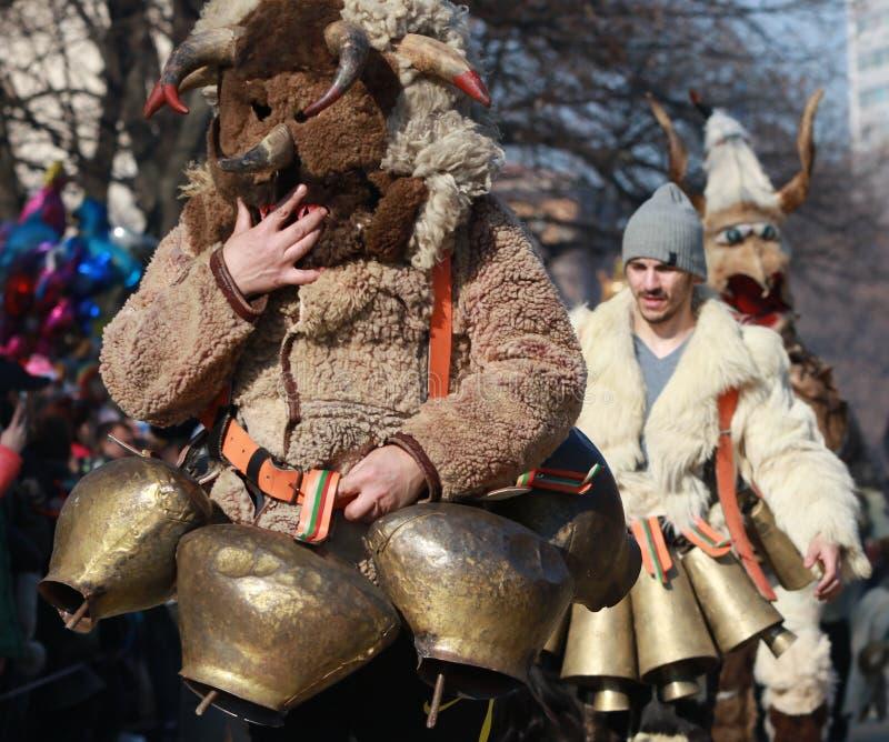 Internationaal Festival van Maskeradespelen Surva in Pernik stock foto's