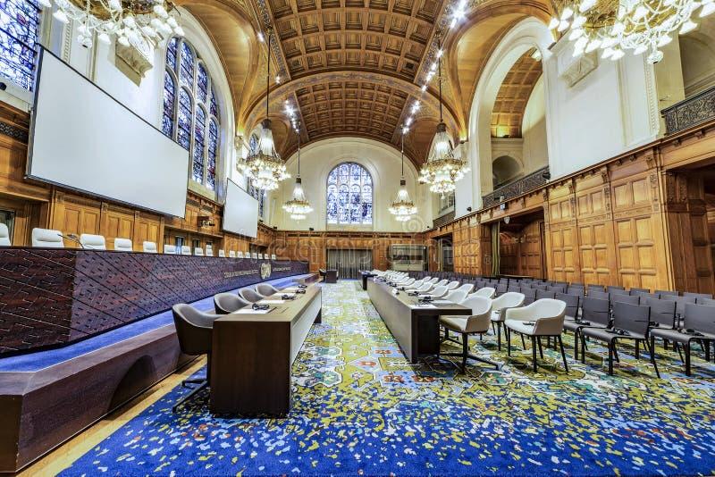Internationaal Gerechtshof Courtroom stock afbeelding