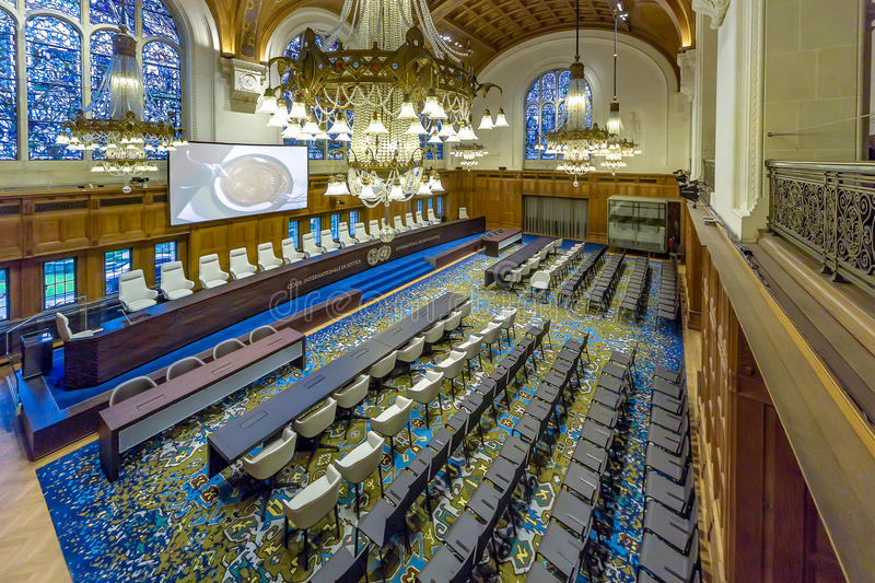 Internationaal Gerechtshof Courtroom stock foto