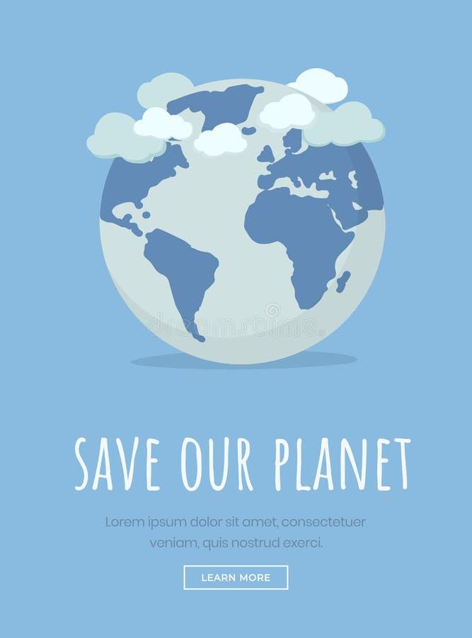 Internationaal het landingspaginamalplaatje van de aardedag Sparen planeetmotto, milieubescherming slogantypografie royalty-vrije illustratie