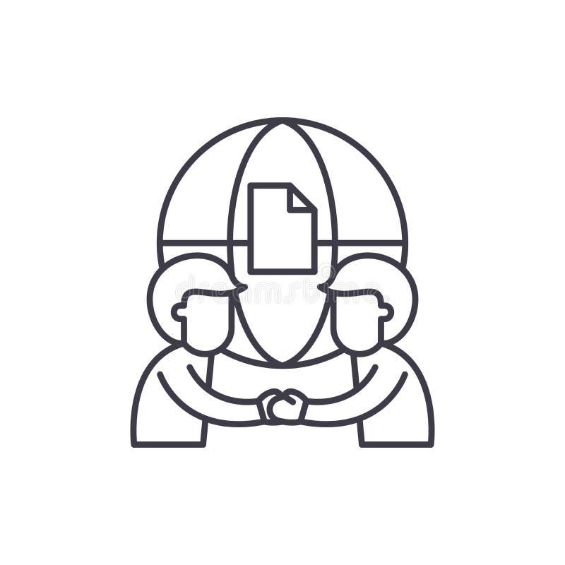 Internationaal het pictogramconcept van de vennootschaplijn Internationale vennootschap vector lineaire illustratie, symbool, tek stock illustratie