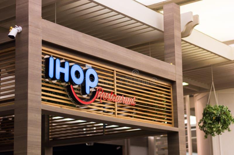 Internationaal Huis van Pannekoeken IHOP-het restaurant is Siam Paragon-winkelcomplex in Bangkok, Thailand stock foto's