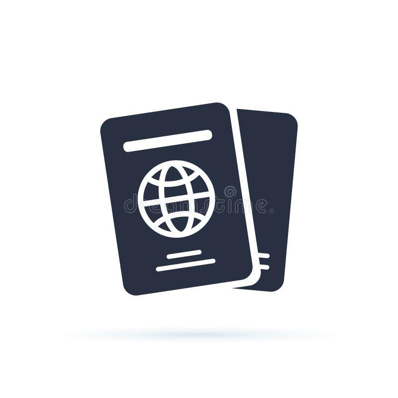 Internationaal paspoort vectorpictogram gevuld vlak teken voor mobiel concept en Webontwerp De reis documenteert eenvoudig pictog royalty-vrije illustratie