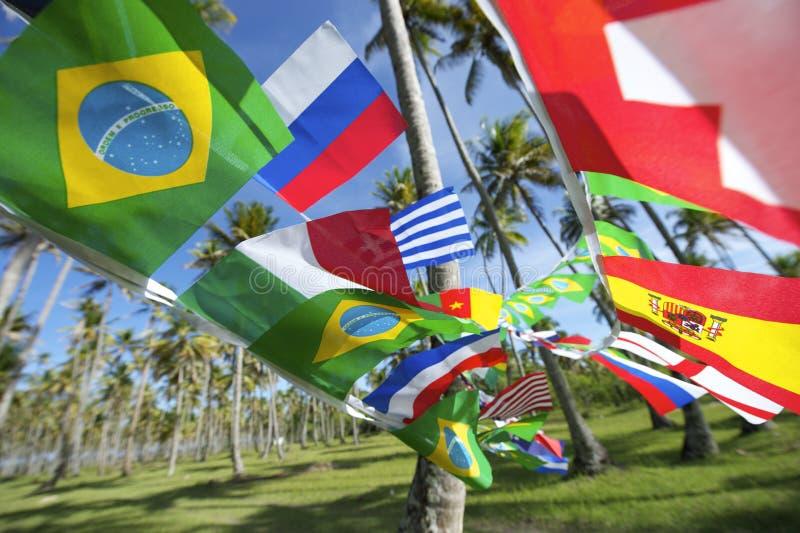 Internationaal Team Flags Palm Grove Brazil royalty-vrije stock foto's