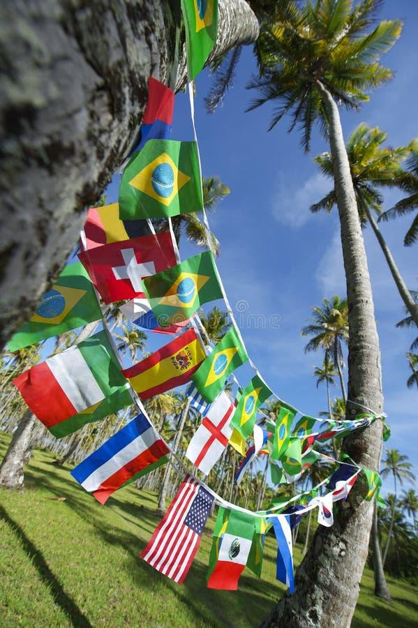 Internationaal Team Flags Palm Trees Grove Brazilië royalty-vrije stock fotografie